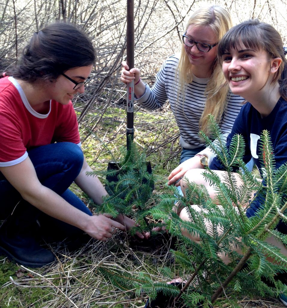 Acadia students feeling the love while planting trees on Earth Day last year.